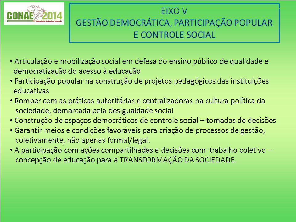 Articulação e mobilização social em defesa do ensino público de qualidade e democratização do acesso à educação Participação popular na construção de