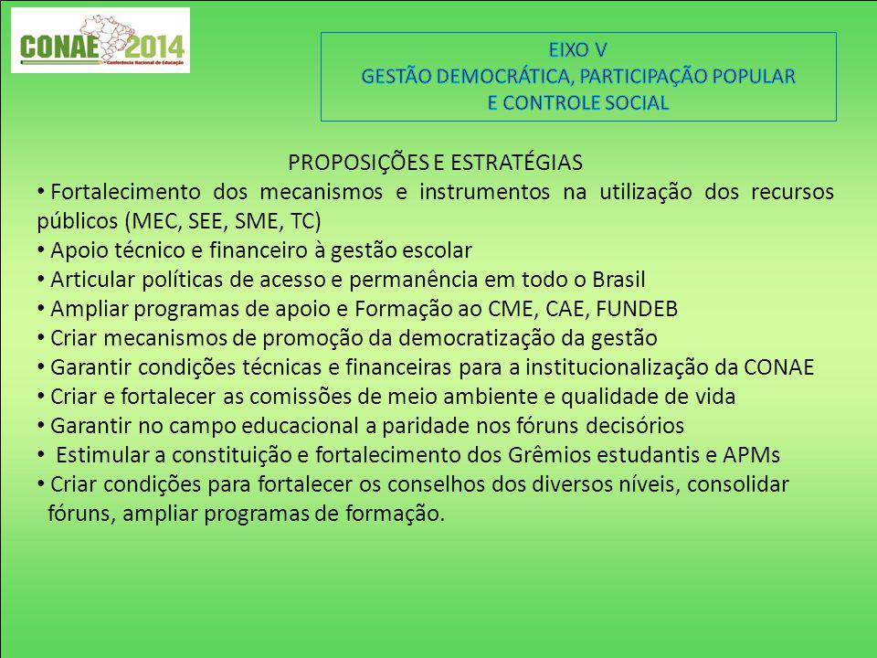 PROPOSIÇÕES E ESTRATÉGIAS Fortalecimento dos mecanismos e instrumentos na utilização dos recursos públicos (MEC, SEE, SME, TC) Apoio técnico e finance