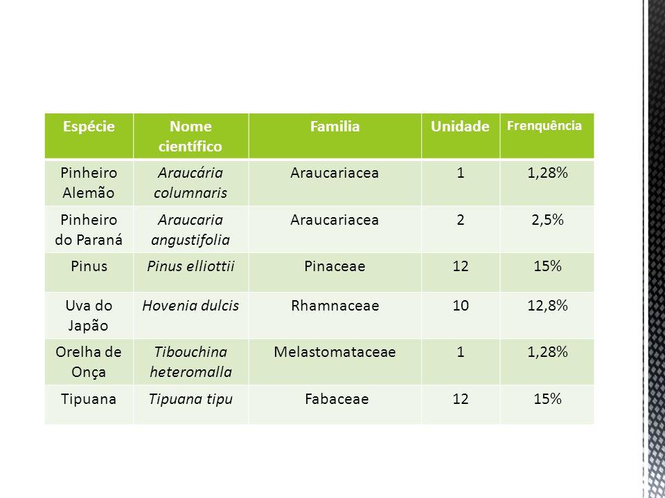 EspécieNome científico FamiliaUnidade Frenquência Pinheiro Alemão Araucária columnaris Araucariacea11,28% Pinheiro do Paraná Araucaria angustifolia Ar