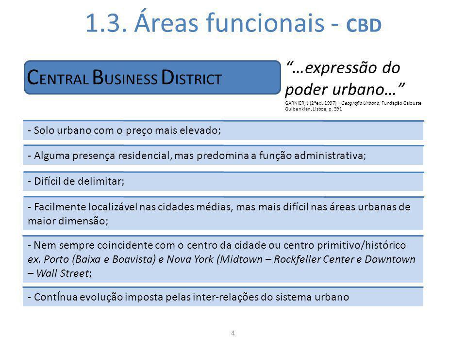1.3. Áreas funcionais - CBD 4 C ENTRAL B USINESS D ISTRICT - Solo urbano com o preço mais elevado; - Alguma presença residencial, mas predomina a funç