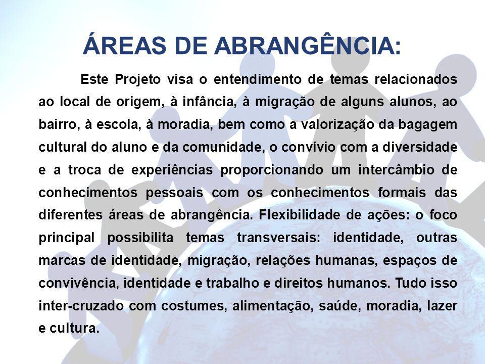 ÁREAS DE ABRANGÊNCIA: Este Projeto visa o entendimento de temas relacionados ao local de origem, à infância, à migração de alguns alunos, ao bairro, à
