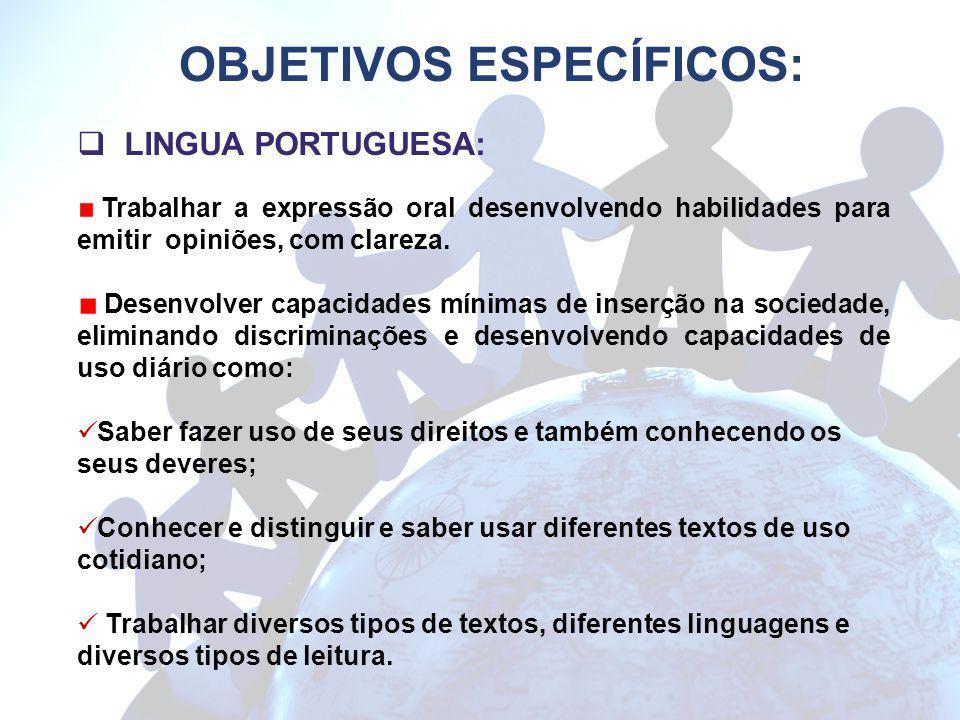 OBJETIVOS ESPECÍFICOS: LINGUA PORTUGUESA: Trabalhar a expressão oral desenvolvendo habilidades para emitir opiniões, com clareza. Desenvolver capacida