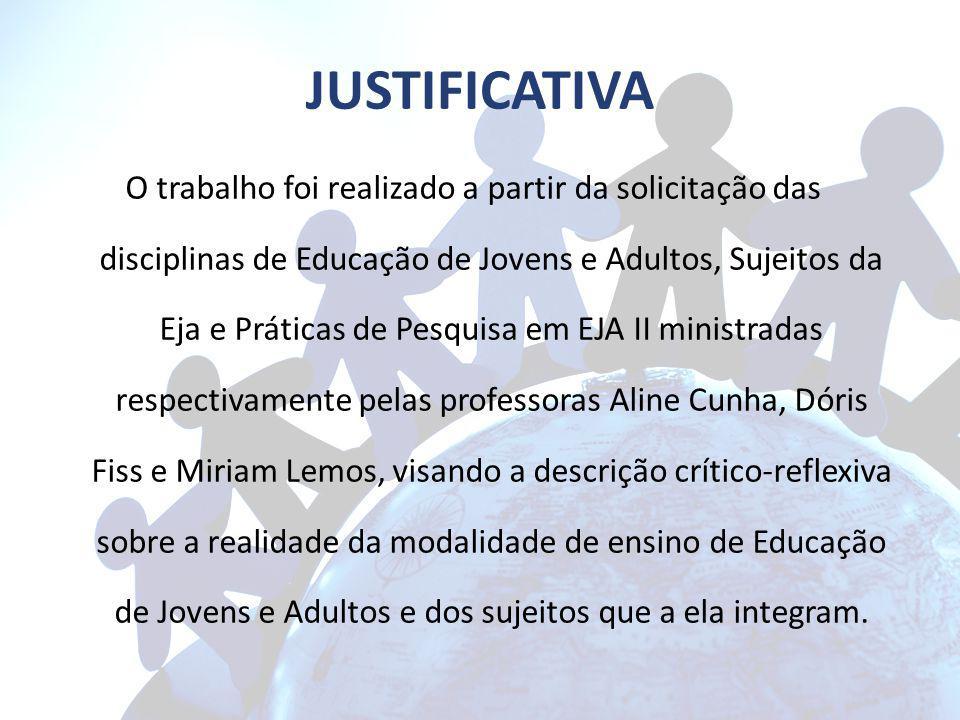 JUSTIFICATIVA O trabalho foi realizado a partir da solicitação das disciplinas de Educação de Jovens e Adultos, Sujeitos da Eja e Práticas de Pesquisa