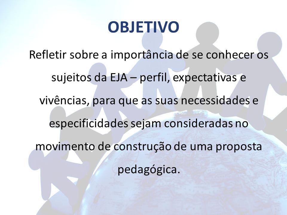 OBJETIVO Refletir sobre a importância de se conhecer os sujeitos da EJA – perfil, expectativas e vivências, para que as suas necessidades e especifici