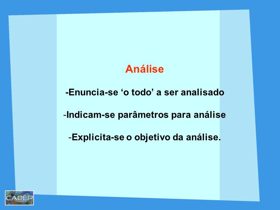 Análise -Enuncia-se o todo a ser analisado -Indicam-se parâmetros para análise -Explicita-se o objetivo da análise.