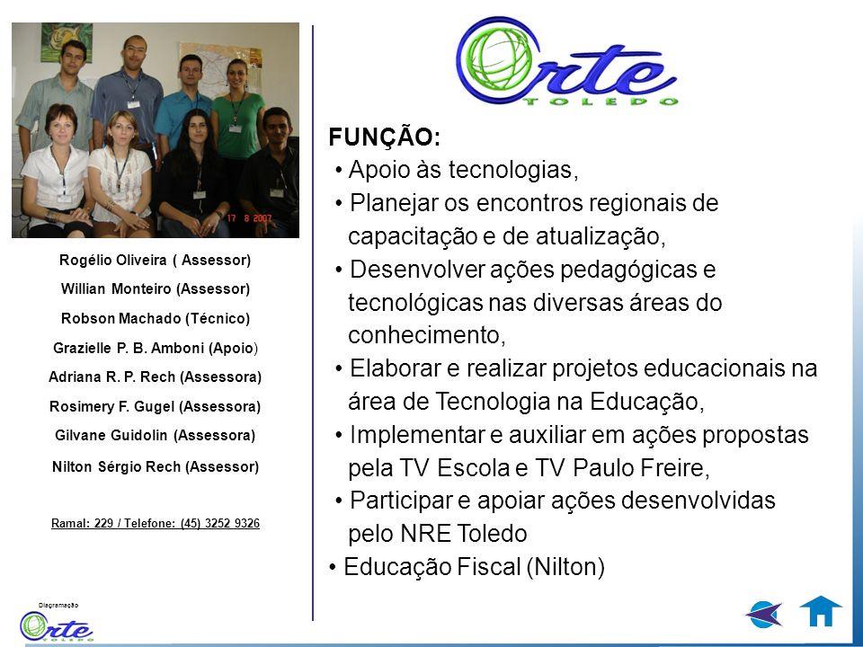 Diagramação Rogélio Oliveira ( Assessor) Willian Monteiro (Assessor) Robson Machado (Técnico) Grazielle P. B. Amboni (Apoio) Adriana R. P. Rech (Asses