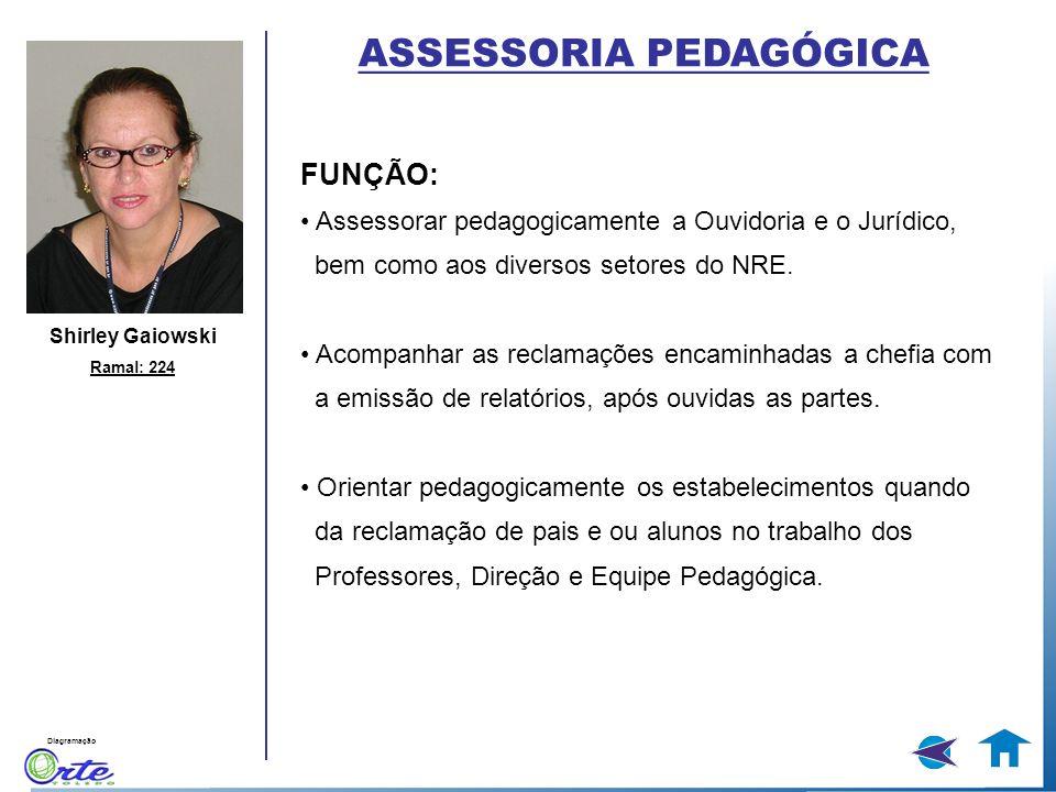 Diagramação Shirley Gaiowski Ramal: 224 FUNÇÃO: Assessorar pedagogicamente a Ouvidoria e o Jurídico, bem como aos diversos setores do NRE. Acompanhar