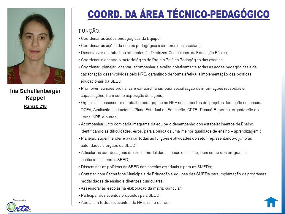 Diagramação Iria Schallenberger Kappel Ramal: 218 FUNÇÃO: Coordenar as ações pedagógicas da Equipe; Coordenar as ações da equipe pedagógica e diretore
