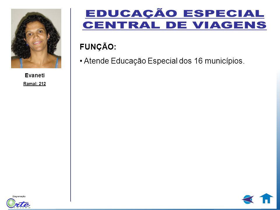 Diagramação FUNÇÃO: Atende Educação Especial dos 16 municípios. Evaneti Ramal: 212