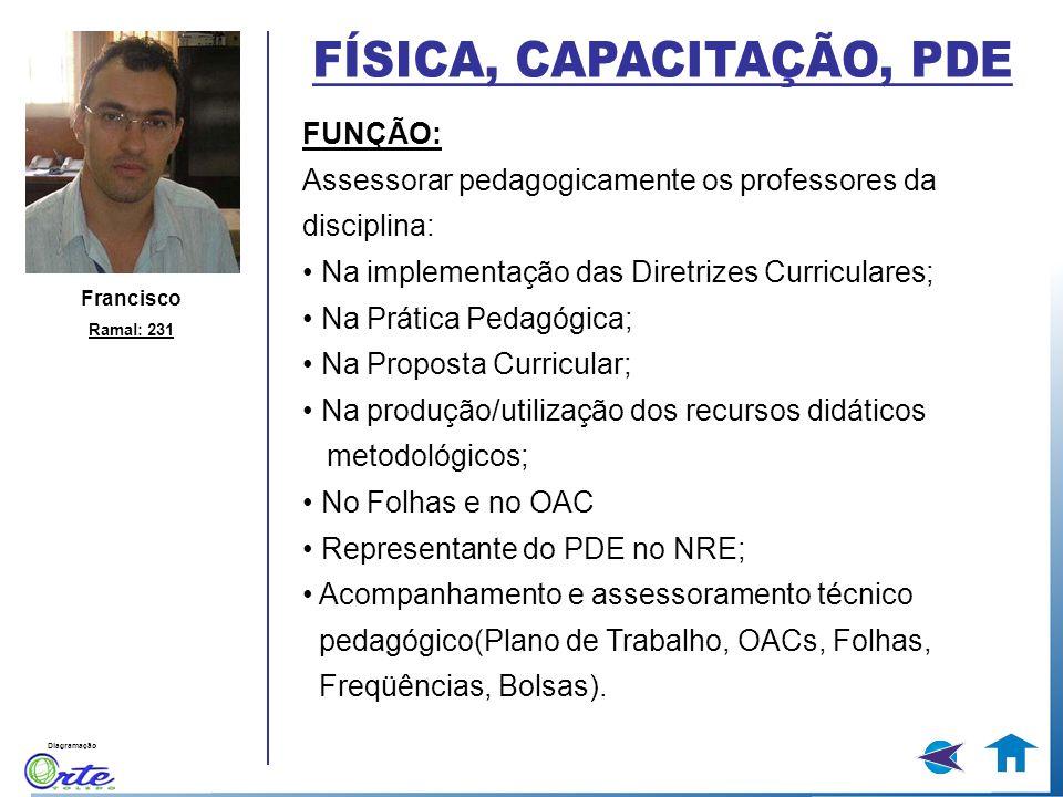 Diagramação Francisco Ramal: 231 FUNÇÃO: Assessorar pedagogicamente os professores da disciplina: Na implementação das Diretrizes Curriculares; Na Prá