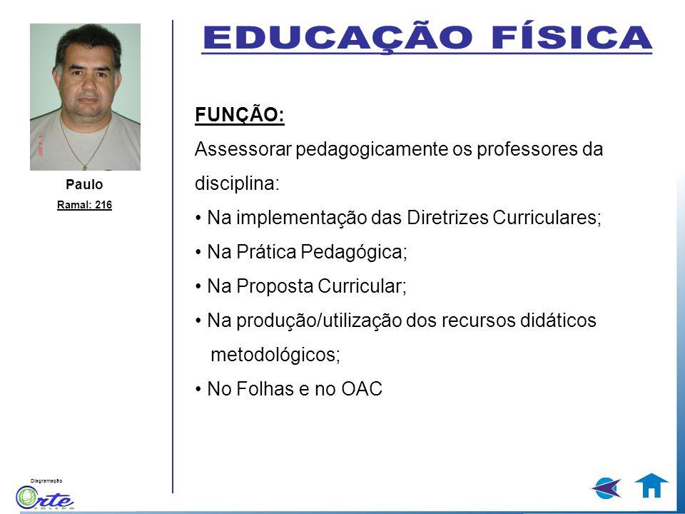 Diagramação Paulo Ramal: 216 FUNÇÃO: Assessorar pedagogicamente os professores da disciplina: Na implementação das Diretrizes Curriculares; Na Prática