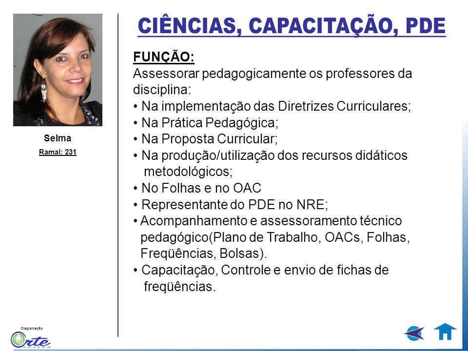Diagramação Selma Ramal: 231 FUNÇÃO: Assessorar pedagogicamente os professores da disciplina: Na implementação das Diretrizes Curriculares; Na Prática