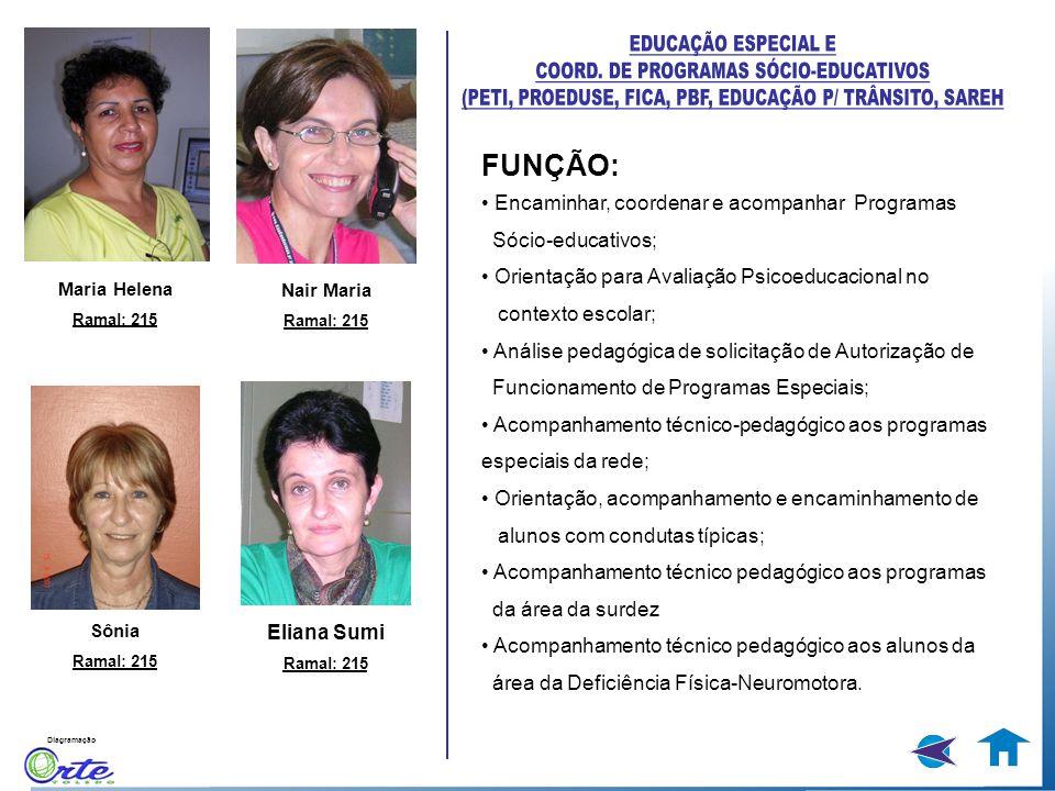Diagramação FUNÇÃO: Encaminhar, coordenar e acompanhar Programas Sócio-educativos; Orientação para Avaliação Psicoeducacional no contexto escolar; Aná