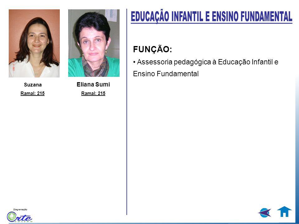 Diagramação FUNÇÃO: Assessoria pedagógica à Educação Infantil e Ensino Fundamental Suzana Ramal: 215 Eliana Sumi Ramal: 215