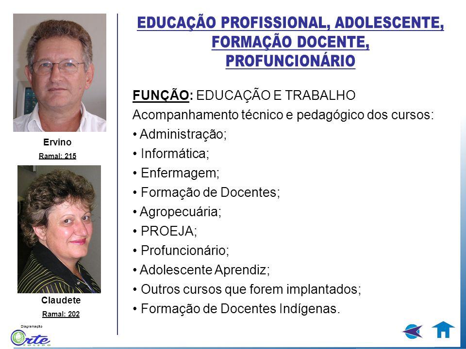 Diagramação FUNÇÃO: EDUCAÇÃO E TRABALHO Acompanhamento técnico e pedagógico dos cursos: Administração; Informática; Enfermagem; Formação de Docentes;