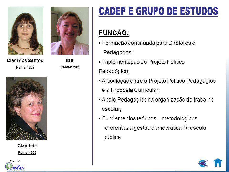 Diagramação FUNÇÃO: Formação continuada para Diretores e Pedagogos; Implementação do Projeto Político Pedagógico; Articulação entre o Projeto Político