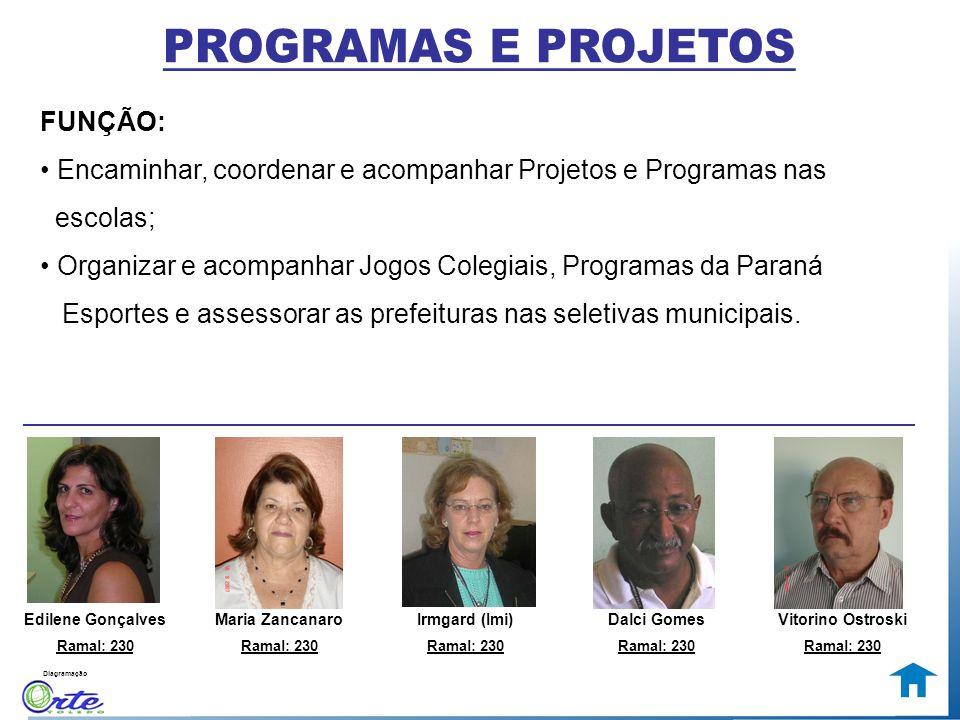 Diagramação FUNÇÃO: Encaminhar, coordenar e acompanhar Projetos e Programas nas escolas; Organizar e acompanhar Jogos Colegiais, Programas da Paraná E