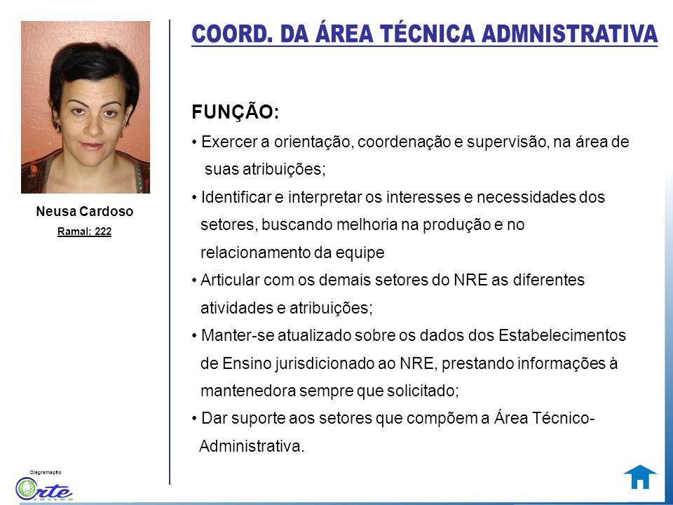 Diagramação Neusa Cardoso Ramal: 222 FUNÇÃO: Exercer a orientação, coordenação e supervisão, na área de suas atribuições; Identificar e interpretar os
