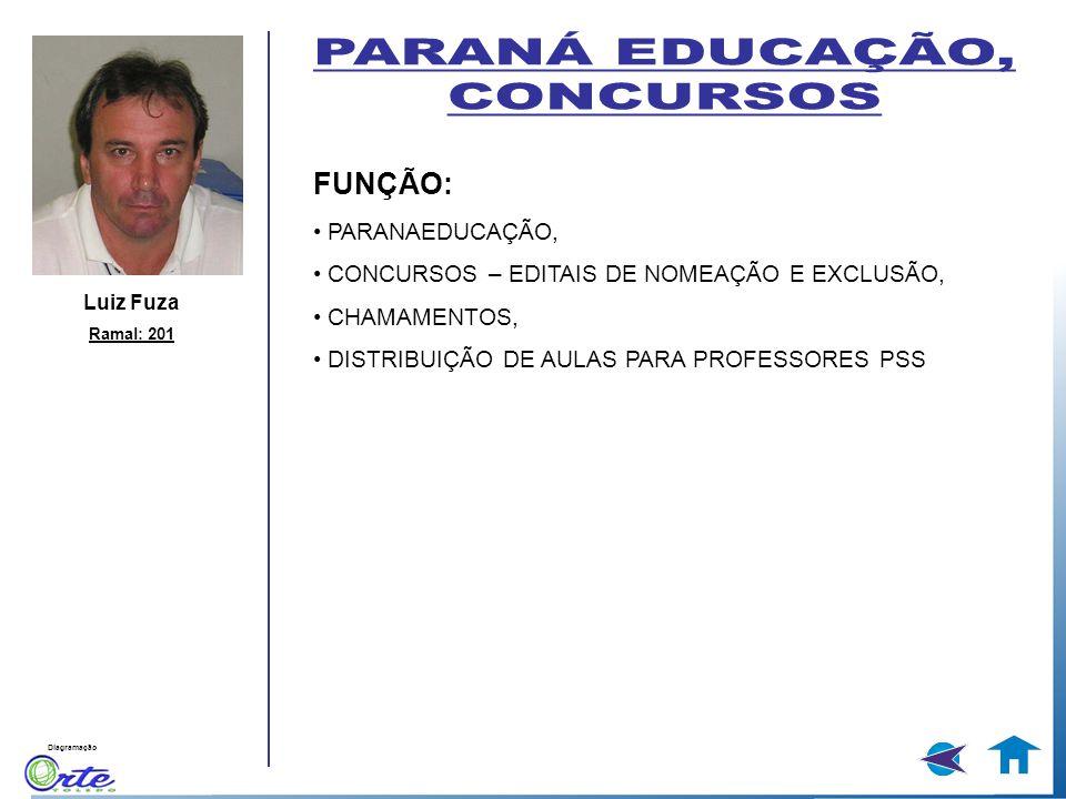 Diagramação Luiz Fuza Ramal: 201 FUNÇÃO: PARANAEDUCAÇÃO, CONCURSOS – EDITAIS DE NOMEAÇÃO E EXCLUSÃO, CHAMAMENTOS, DISTRIBUIÇÃO DE AULAS PARA PROFESSOR