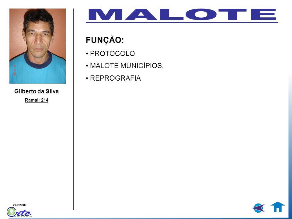 Diagramação Gilberto da Silva Ramal: 214 FUNÇÃO: PROTOCOLO MALOTE MUNICÍPIOS, REPROGRAFIA