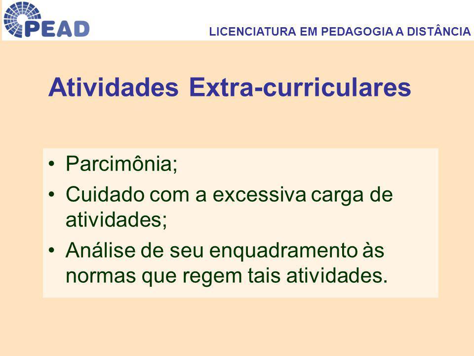 Atividades Extra-curriculares Parcimônia; Cuidado com a excessiva carga de atividades; Análise de seu enquadramento às normas que regem tais atividades.