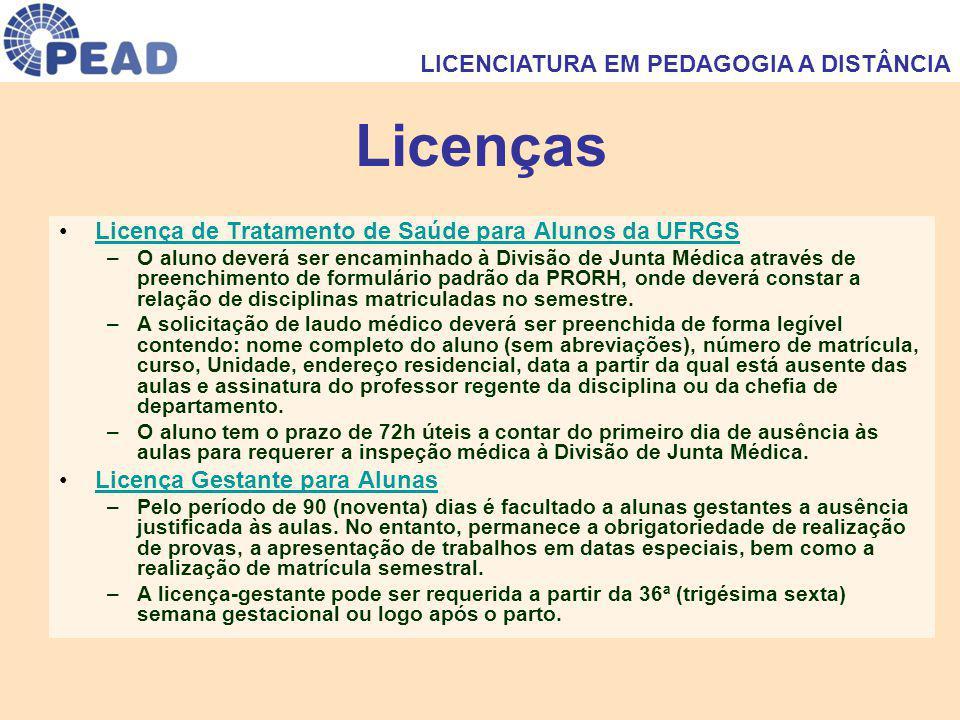 Licenças Licença de Tratamento de Saúde para Alunos da UFRGSLicença de Tratamento de Saúde para Alunos da UFRGS –O aluno deverá ser encaminhado à Divisão de Junta Médica através de preenchimento de formulário padrão da PRORH, onde deverá constar a relação de disciplinas matriculadas no semestre.