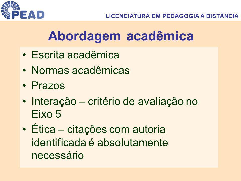 Abordagem acadêmica Escrita acadêmica Normas acadêmicas Prazos Interação – critério de avaliação no Eixo 5 Ética – citações com autoria identificada é