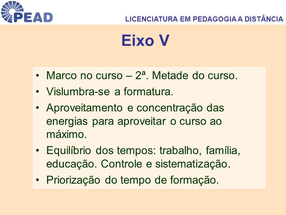 Eixo V Marco no curso – 2ª. Metade do curso. Vislumbra-se a formatura. Aproveitamento e concentração das energias para aproveitar o curso ao máximo. E
