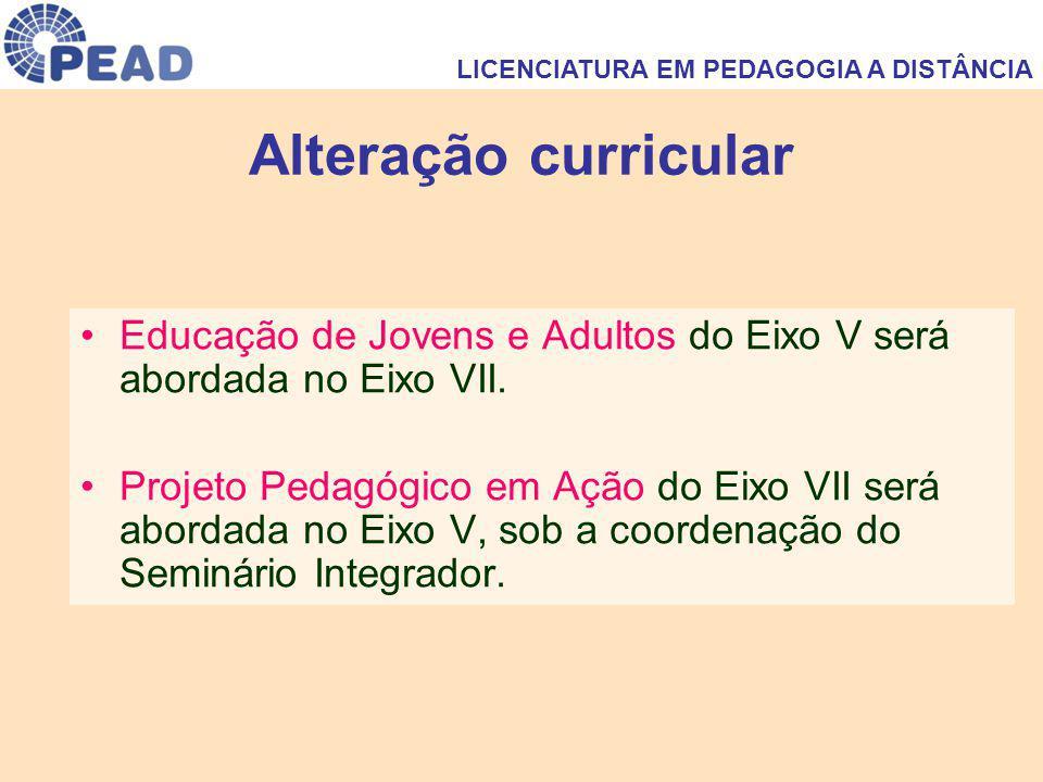 Alteração curricular Educação de Jovens e Adultos do Eixo V será abordada no Eixo VII. Projeto Pedagógico em Ação do Eixo VII será abordada no Eixo V,