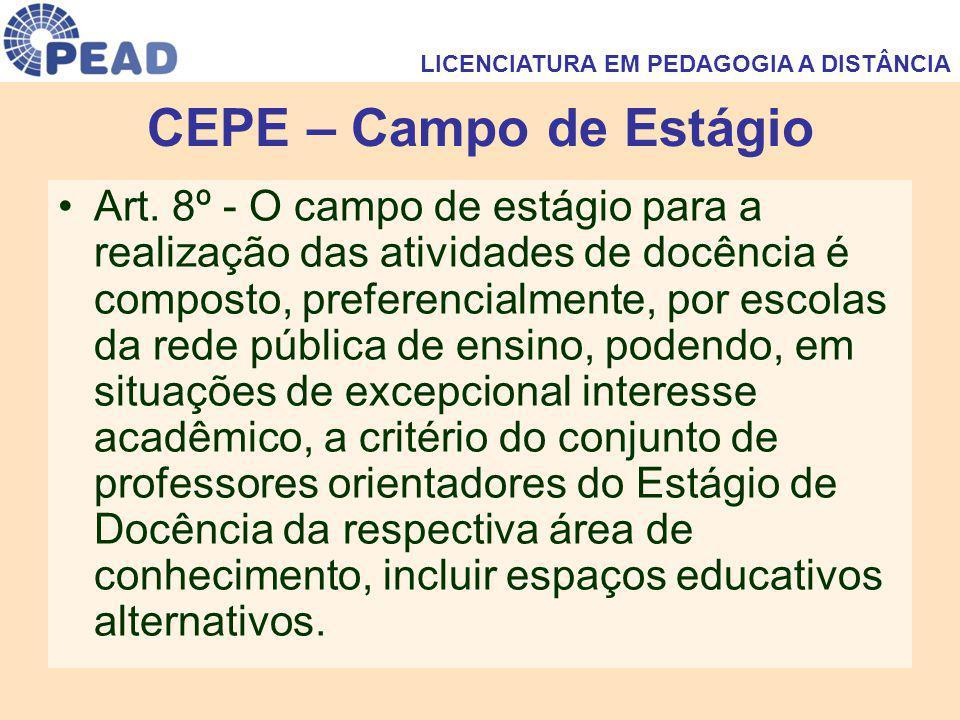 CEPE – Campo de Estágio Art. 8º - O campo de estágio para a realização das atividades de docência é composto, preferencialmente, por escolas da rede p