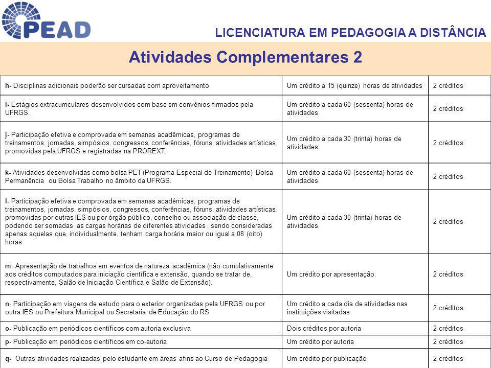 Atividades Complementares 2 h- Disciplinas adicionais poderão ser cursadas com aproveitamentoUm crédito a 15 (quinze) horas de atividades2 créditos i-