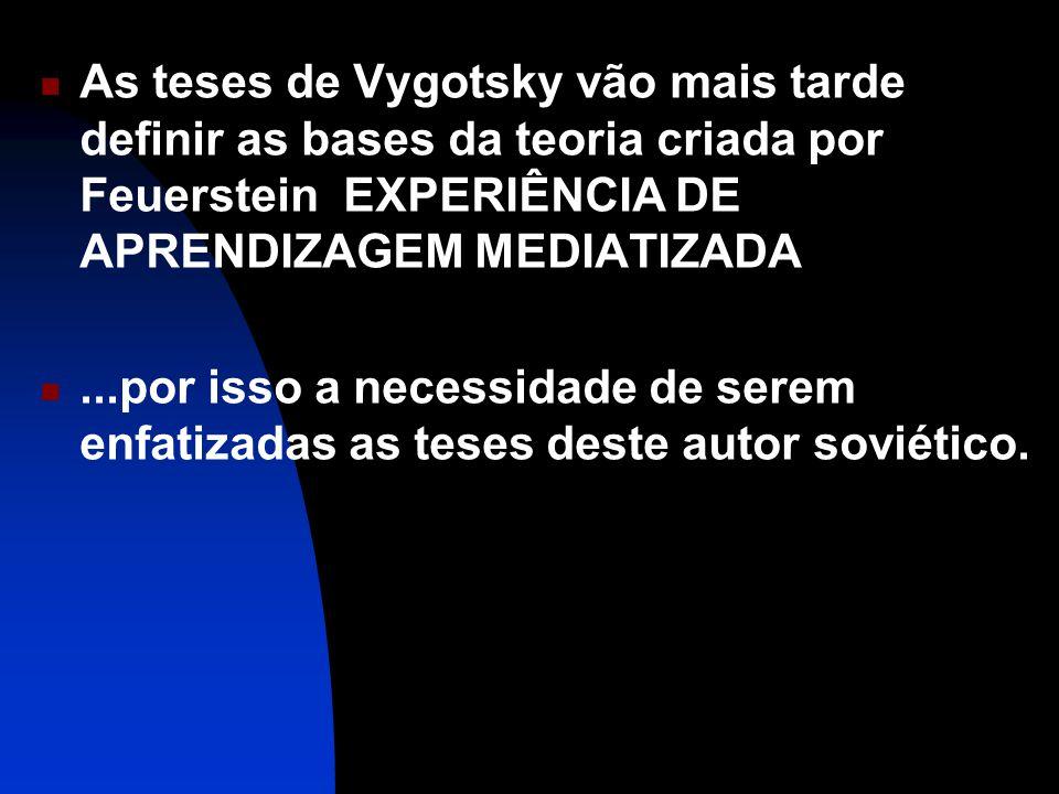 As teses de Vygotsky vão mais tarde definir as bases da teoria criada por Feuerstein EXPERIÊNCIA DE APRENDIZAGEM MEDIATIZADA...por isso a necessidade