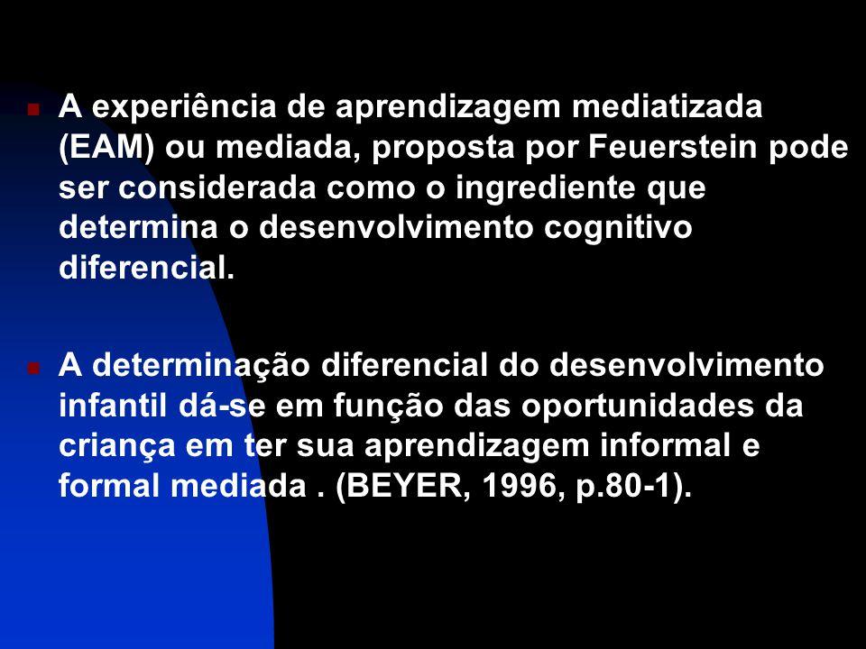 A experiência de aprendizagem mediatizada (EAM) ou mediada, proposta por Feuerstein pode ser considerada como o ingrediente que determina o desenvolvi