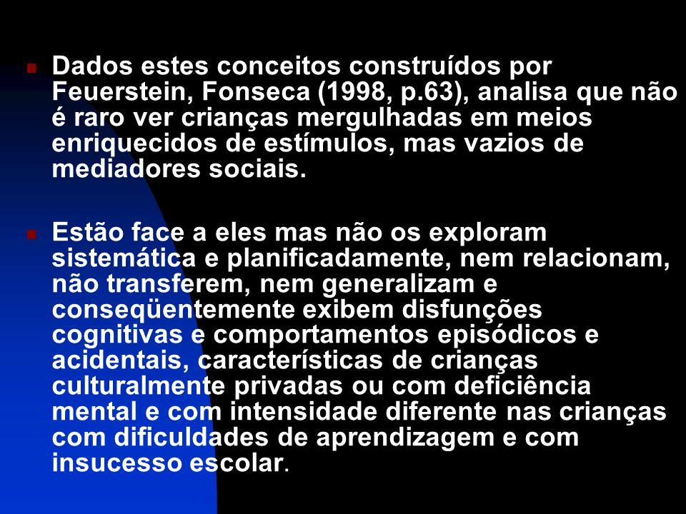 Dados estes conceitos construídos por Feuerstein, Fonseca (1998, p.63), analisa que não é raro ver crianças mergulhadas em meios enriquecidos de estímulos, mas vazios de mediadores sociais.