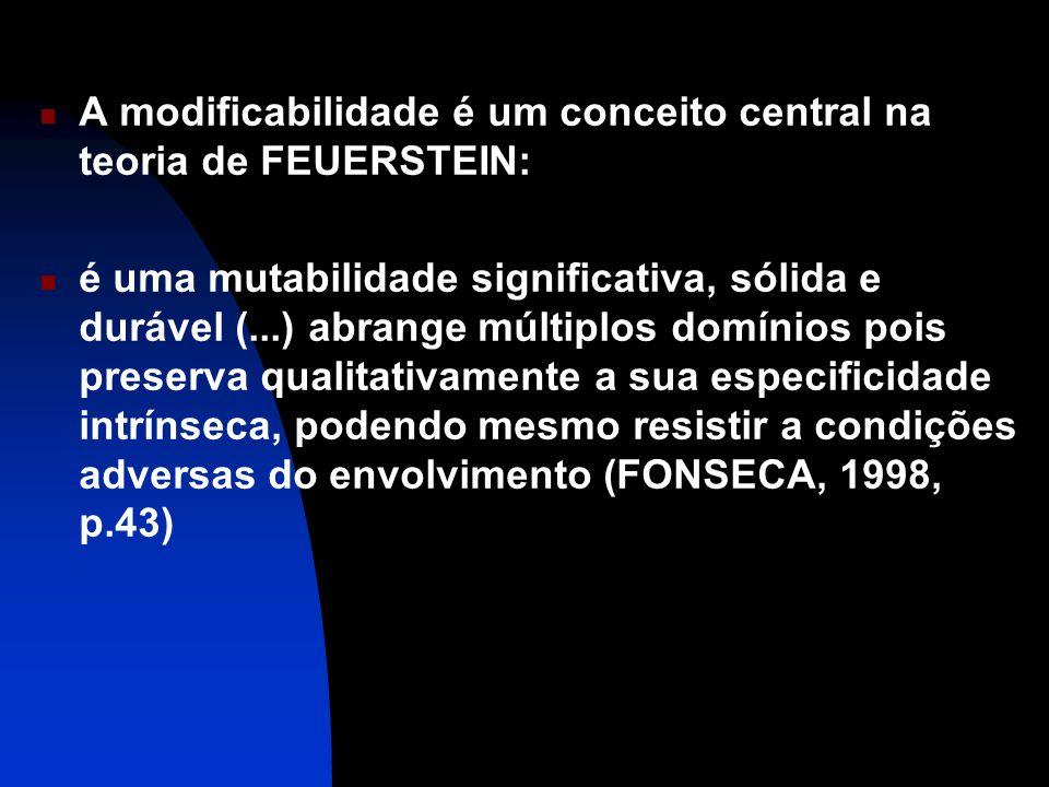 A modificabilidade é um conceito central na teoria de FEUERSTEIN: é uma mutabilidade significativa, sólida e durável (...) abrange múltiplos domínios pois preserva qualitativamente a sua especificidade intrínseca, podendo mesmo resistir a condições adversas do envolvimento (FONSECA, 1998, p.43)