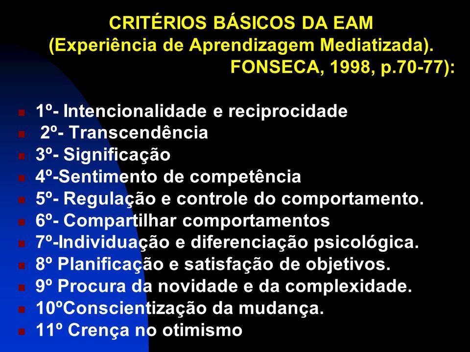 CRITÉRIOS BÁSICOS DA EAM (Experiência de Aprendizagem Mediatizada). FONSECA, 1998, p.70-77): 1º- Intencionalidade e reciprocidade 2º- Transcendência 3