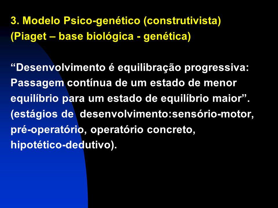 3. Modelo Psico-genético (construtivista) (Piaget – base biológica - genética) Desenvolvimento é equilibração progressiva: Passagem contínua de um est