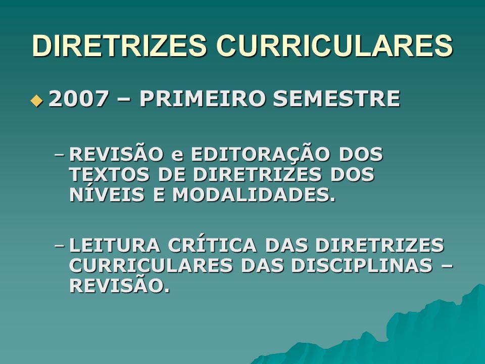 DIRETRIZES CURRICULARES 2007 – PRIMEIRO SEMESTRE 2007 – PRIMEIRO SEMESTRE –REVISÃO e EDITORAÇÃO DOS TEXTOS DE DIRETRIZES DOS NÍVEIS E MODALIDADES. –LE