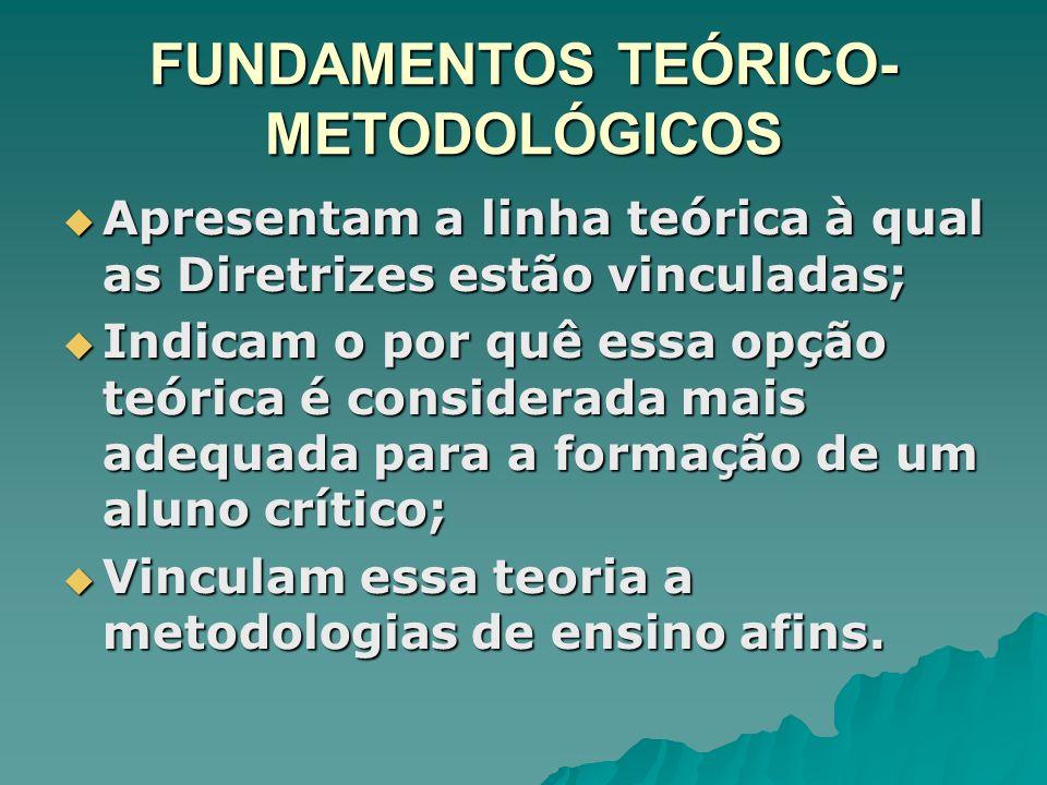 FUNDAMENTOS TEÓRICO- METODOLÓGICOS Apresentam a linha teórica à qual as Diretrizes estão vinculadas; Apresentam a linha teórica à qual as Diretrizes e