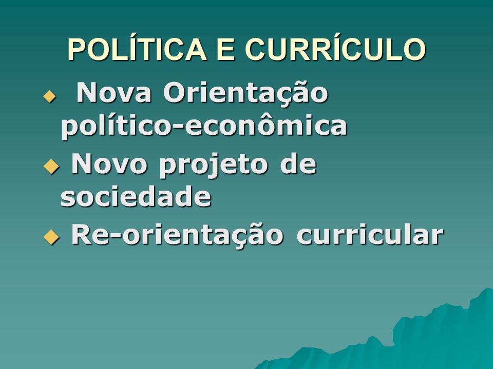 POLÍTICA E CURRÍCULO Nova Orientação político-econômica Nova Orientação político-econômica Novo projeto de sociedade Novo projeto de sociedade Re-orie