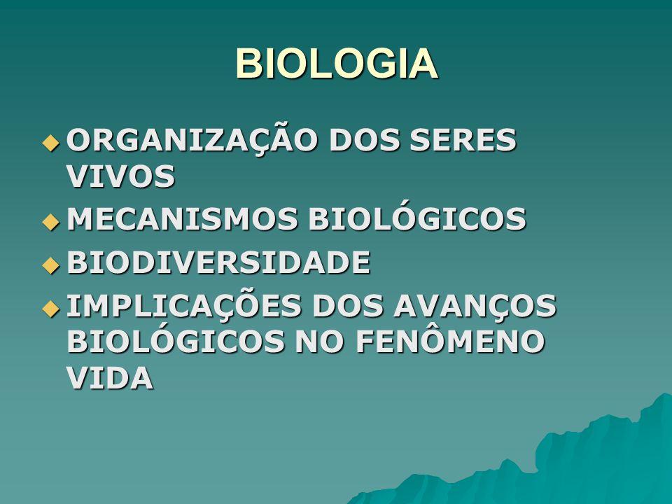 BIOLOGIA ORGANIZAÇÃO DOS SERES VIVOS ORGANIZAÇÃO DOS SERES VIVOS MECANISMOS BIOLÓGICOS MECANISMOS BIOLÓGICOS BIODIVERSIDADE BIODIVERSIDADE IMPLICAÇÕES