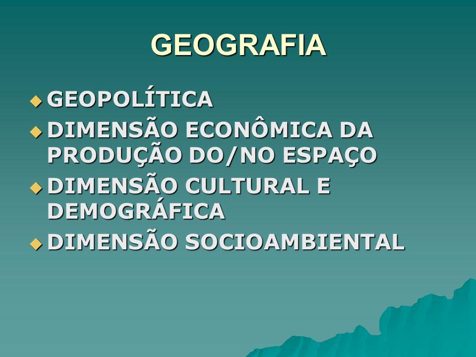 GEOGRAFIA GEOPOLÍTICA GEOPOLÍTICA DIMENSÃO ECONÔMICA DA PRODUÇÃO DO/NO ESPAÇO DIMENSÃO ECONÔMICA DA PRODUÇÃO DO/NO ESPAÇO DIMENSÃO CULTURAL E DEMOGRÁF
