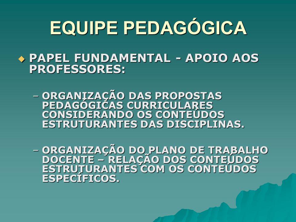 EQUIPE PEDAGÓGICA PAPEL FUNDAMENTAL - APOIO AOS PROFESSORES: PAPEL FUNDAMENTAL - APOIO AOS PROFESSORES: –ORGANIZAÇÃO DAS PROPOSTAS PEDAGÓGICAS CURRICU