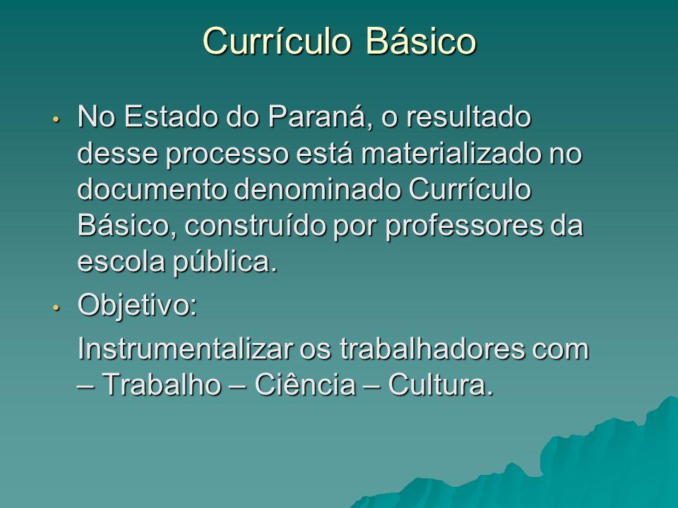 Currículo Básico No Estado do Paraná, o resultado desse processo está materializado no documento denominado Currículo Básico, construído por professor