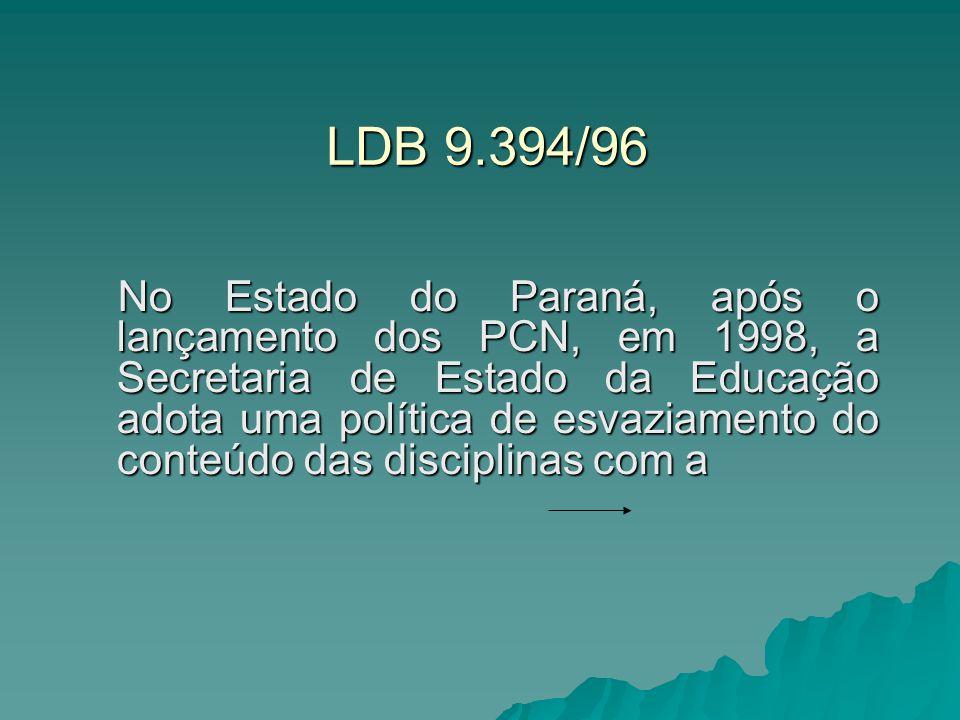 LDB 9.394/96 No Estado do Paraná, após o lançamento dos PCN, em 1998, a Secretaria de Estado da Educação adota uma política de esvaziamento do conteúd