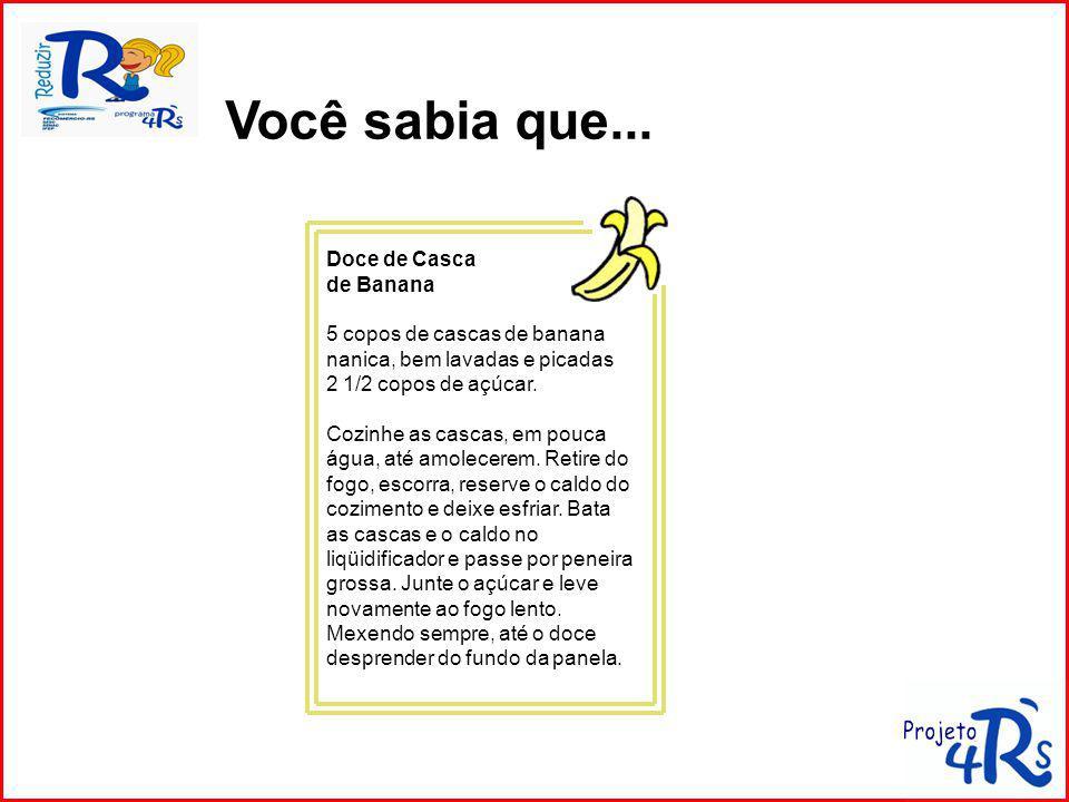 Doce de Casca de Banana 5 copos de cascas de banana nanica, bem lavadas e picadas 2 1/2 copos de açúcar.