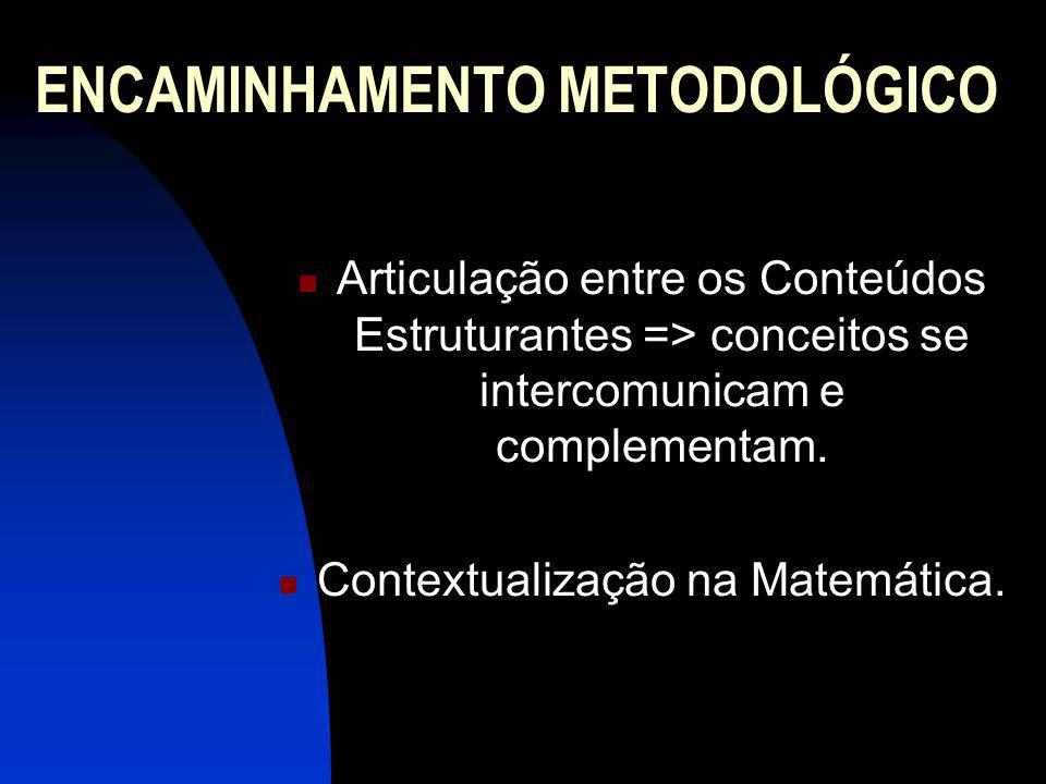 ENCAMINHAMENTO METODOLÓGICO Articulação entre os Conteúdos Estruturantes => conceitos se intercomunicam e complementam. Contextualização na Matemática