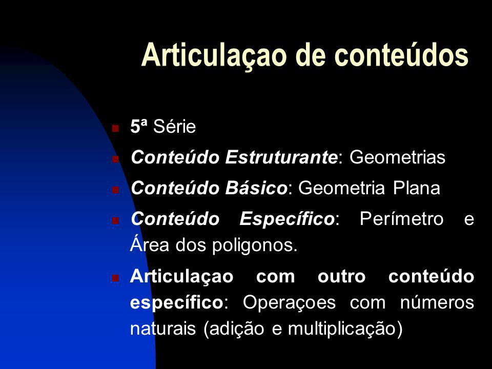 Articulaçao de conteúdos 5ª Série Conteúdo Estruturante: Geometrias Conteúdo Básico: Geometria Plana Conteúdo Específico: Perímetro e Área dos poligonos.