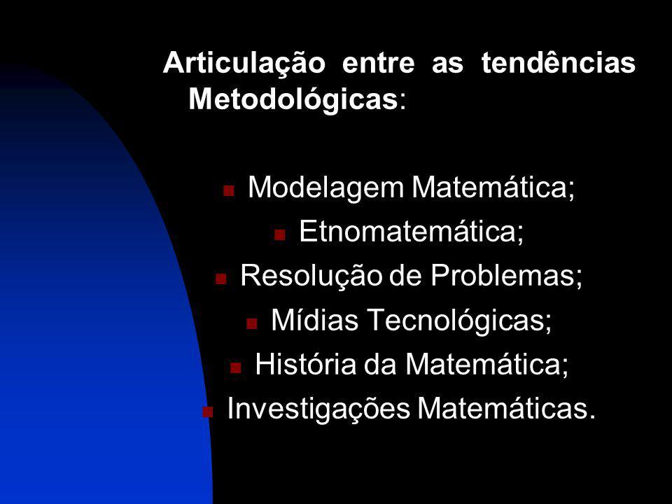 Articulação entre as tendências Metodológicas: Modelagem Matemática; Etnomatemática; Resolução de Problemas; Mídias Tecnológicas; História da Matemática; Investigações Matemáticas.