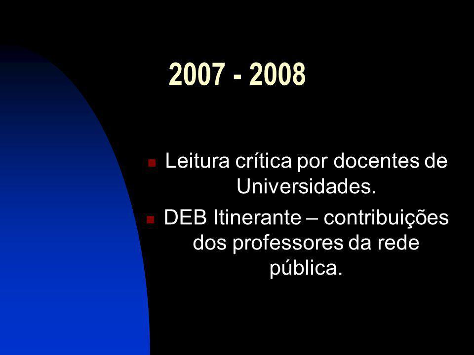 2007 - 2008 Leitura crítica por docentes de Universidades. DEB Itinerante – contribuições dos professores da rede pública.